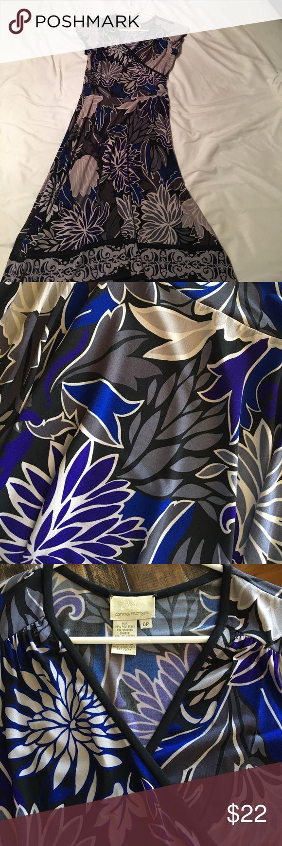 Floral Faux wrap dress Floral faux wrap dress. Heather grey, violet, royal blue, and black. Donna Morgan Dresses