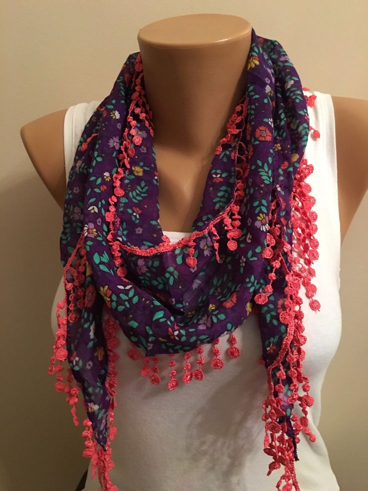 A personal favorite from my Etsy shop https://www.etsy.com/listing/269751019/purple-floral-scarf-lace-scarf-womens