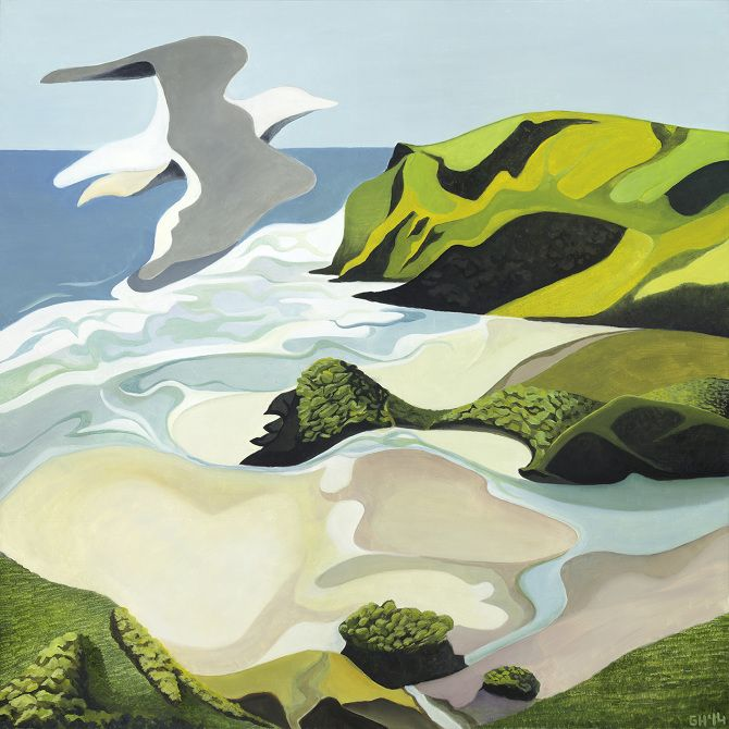 Gull Over Anawhata   by Guy Harkness