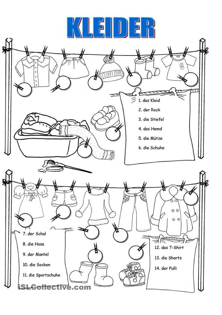 Kleider arbeitsblatt                                                                                                                                                                                 Mehr
