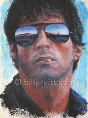 "This is an ORIGINAL oil painting of Sly Stallone from the movie ""Cobra"" and measures 8.5""x11"" on canvas spray mounted on board. It is sealed with 2 coats of varnish so it will be preserved for many generations."