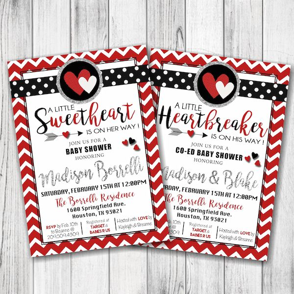 Valentine S Day Baby Shower Invitation Little Sweetheart Baby