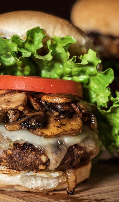Grilled Onion and Mushroom Elk Burgers courtesy of @fromfield2plate | Step up your burger game with this recipe for Elk burgers. Don't have elk meat in the freezer? Use ground beef and away you go. | #CampChef #FlatTop #Skillet #CastIron #Recipe #Burgers
