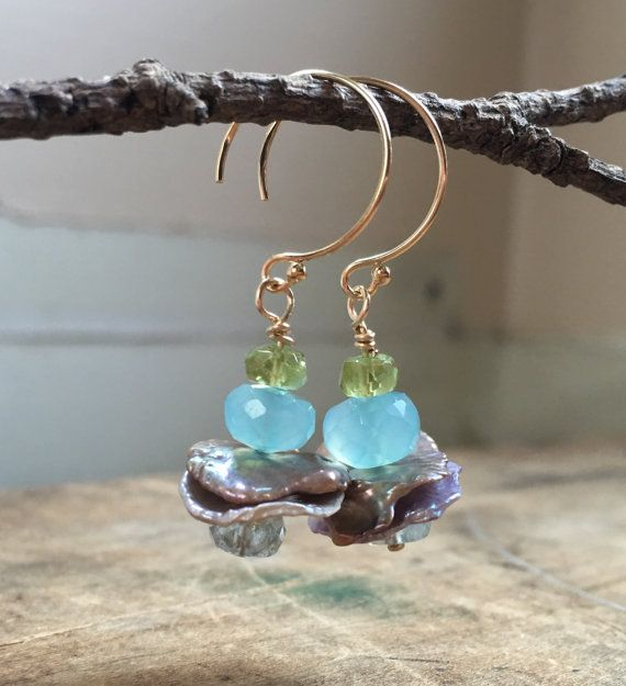 Blue chalcedony and Pearl earrings, aquamarine, peridot jewelry.