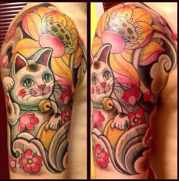 8 Lucky Maneki Neko Tattoos