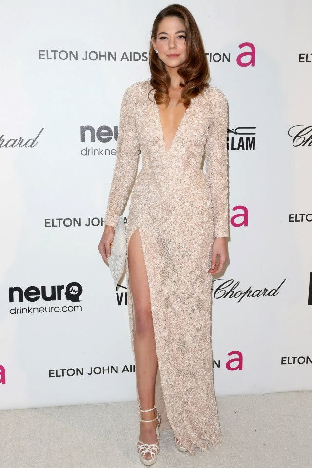 Analeigh Tipton wears ELIE SAAB Ready-to-Wear Spring Summer 2013 to the Elton John Viewing Party