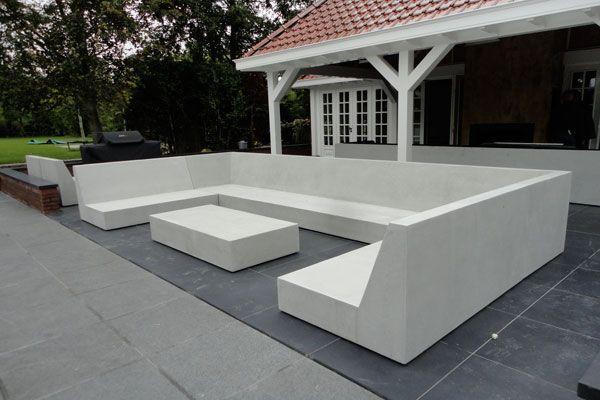 Betonlook Lounge Set Moderne Zwembaden Tuinmeubilair