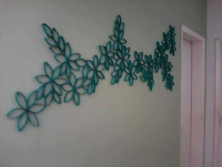 Utilisima Decoracion Cuadros ~ Decoraciion hecha con tubos de carton del papel higienico cortados