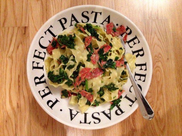 Spinach an pepperoni with mafaldine pasta