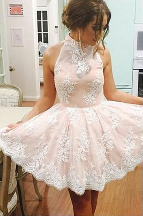 Elegant High Neck Homecoming Dress, Sleeveless Homecoming Dress, Short Prom Dress, Illusion Back Pink Homecoming Dress with White Lace, Lace Homecoming Dresses, Homecoming Dress 2016