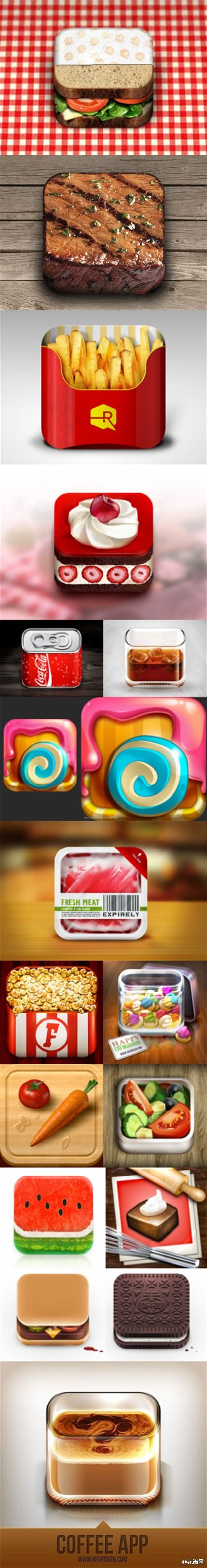 Food Icons. I actually want to eat these...