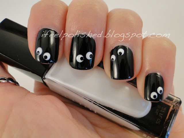 Halloween nails -- soot poofs!!!  :D