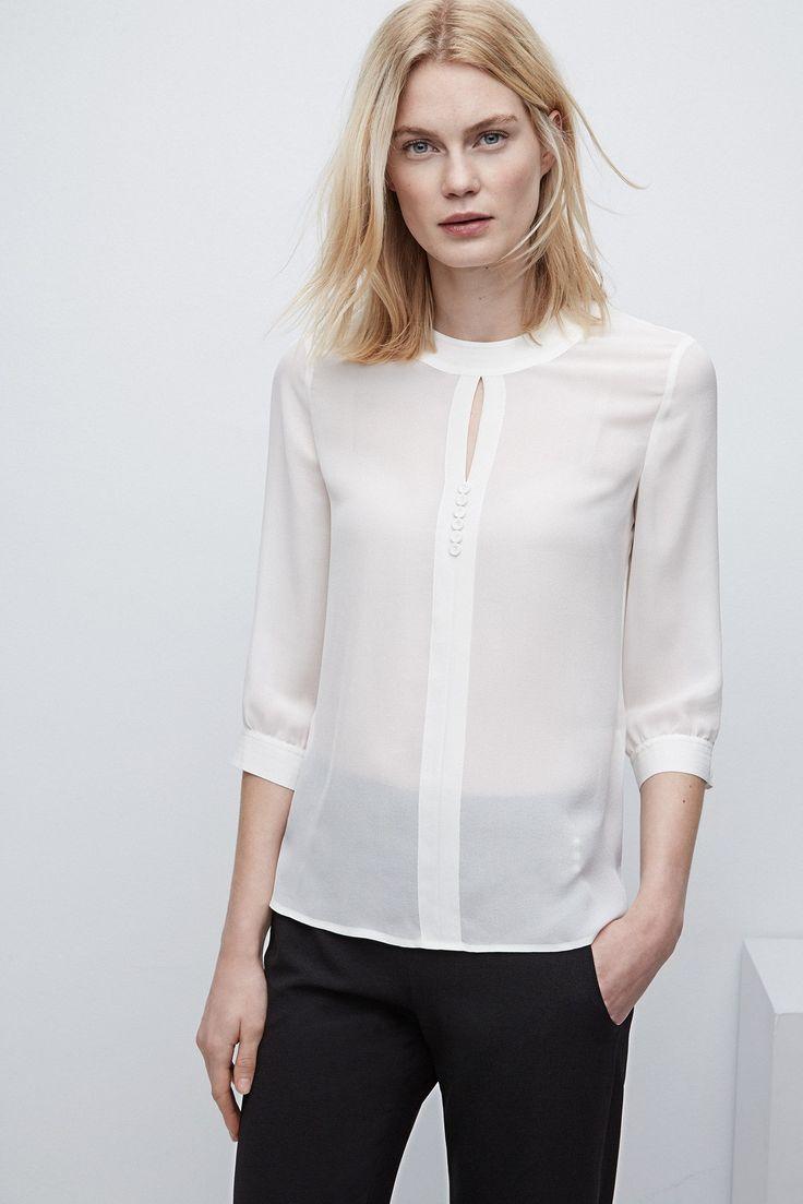 Camisa de seda con cuello romántico - colección | Adolfo Dominguez shop online