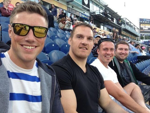 Rhys Priestland and Gethin Jenkins watching the cricket