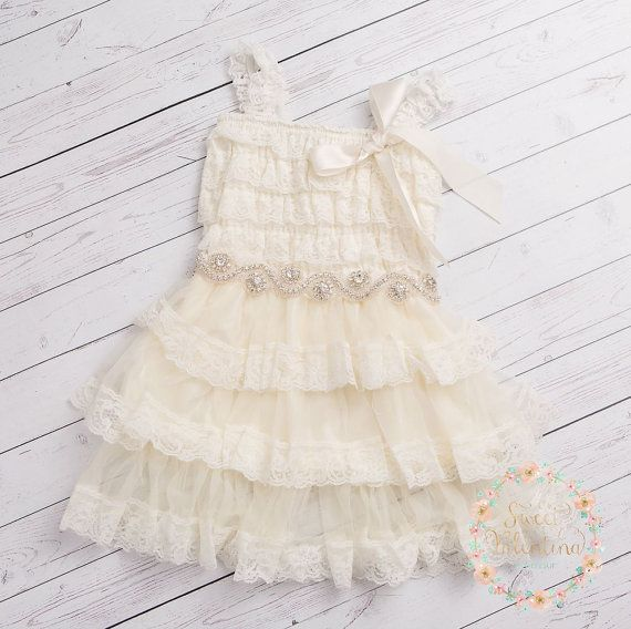 Ivory lace flower girl dress rustic flower girl by SweetValentina