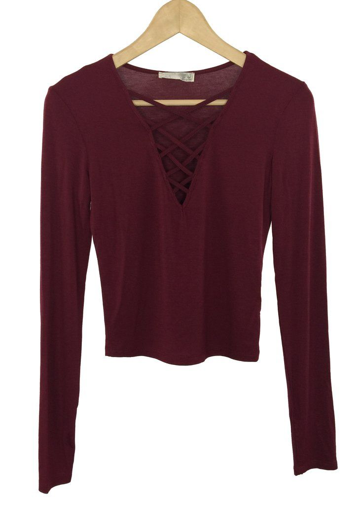 blanche criss cross top (burgundy)