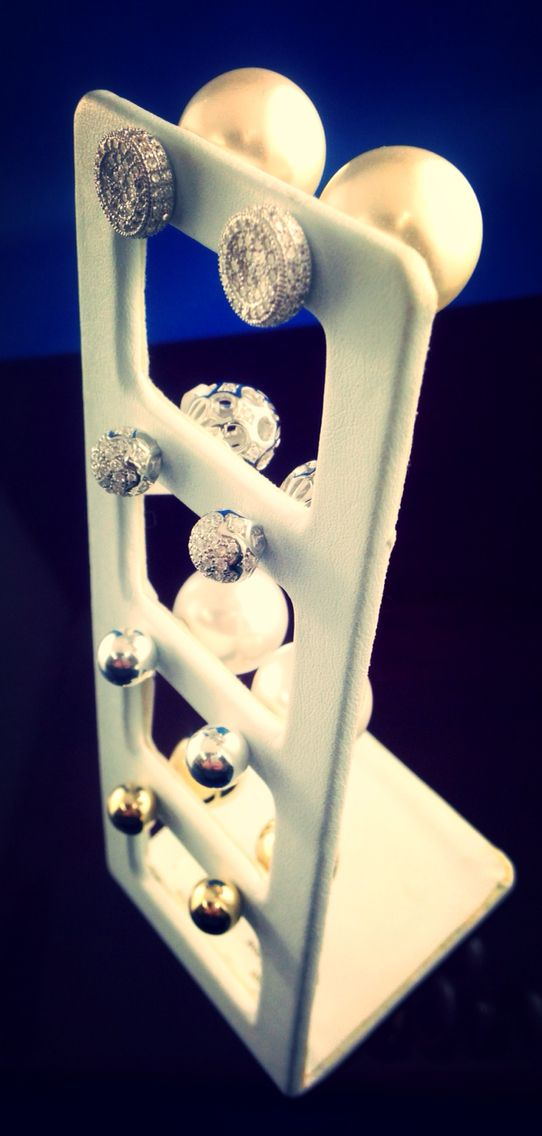 Double ball earrings. Double sided earrings. Beautiful bling earrings. Available @Macchia Jewellery, Horsham Vic, AU