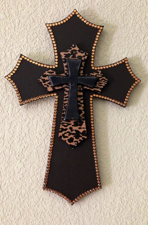 Brown and Leopard Layered Wooden Cross: