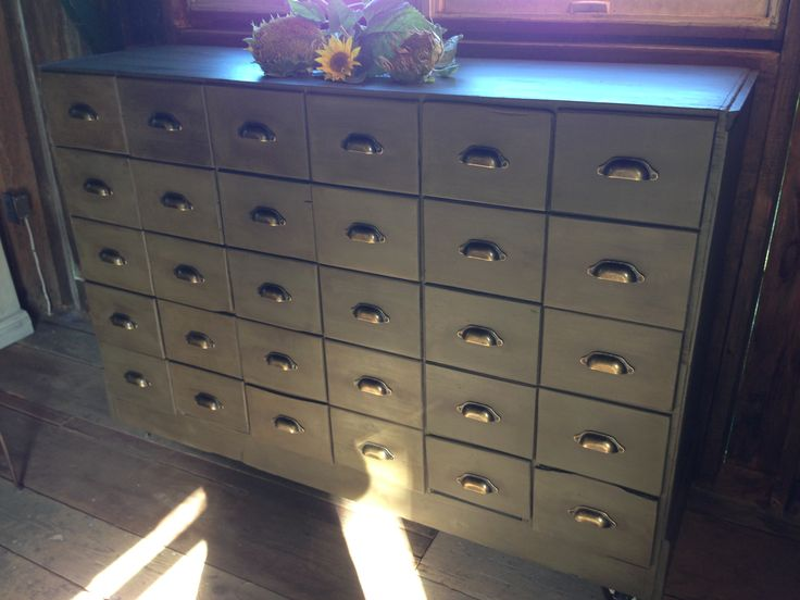 "Industrial cabinet with 30 -10"" drawers -Windy Hill Barn Sale - www.Downtownmoose.com"