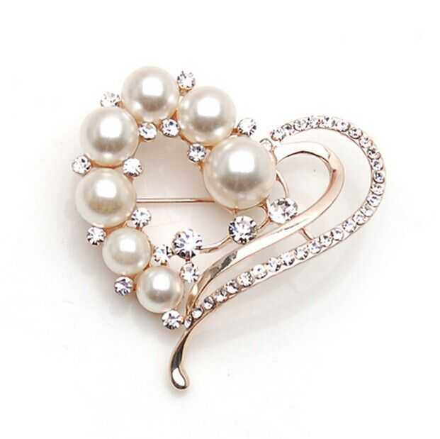 XZ019  Girl fashion imitation pearl Peach Heart crystal luxury brooch pins large brooches for wedding for women
