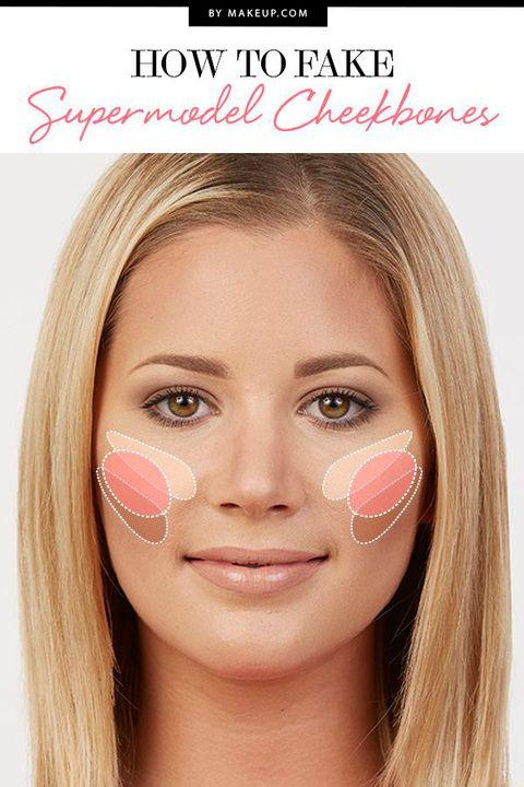 ¿Cómo conseguir los codiciados pómulos de las 'tops'? No es (sólo) cuestión de genética, también se puede simular con maquillaje. Este pin lo explica.