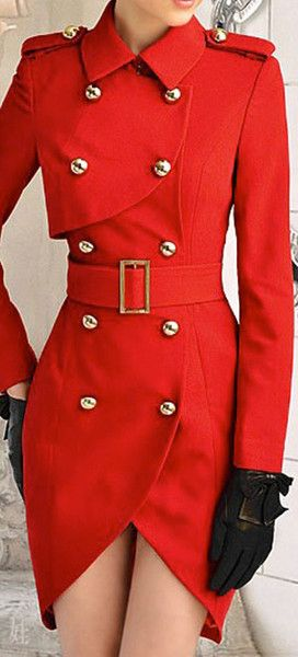 RED DOUBLE BREASTED COAT DRESS--- love this unique dress.