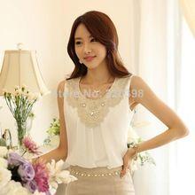 Novo 2014 moda elegante diamante crochê rendas sem mangas Chiffon plissado top, Verão escritório blusas Plus size S-XXXL 036(China (Mainland))