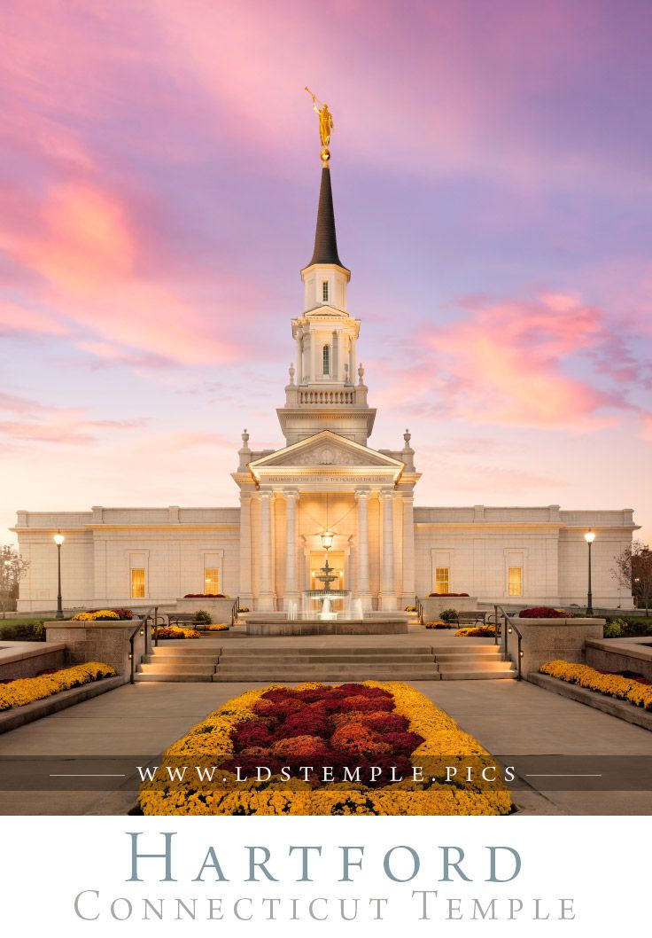Hartford Temple House Of Hope - Beautiful pastel skies during the sunset at the Hartford Connecticut Temple. Photo by Alan Fullmer.