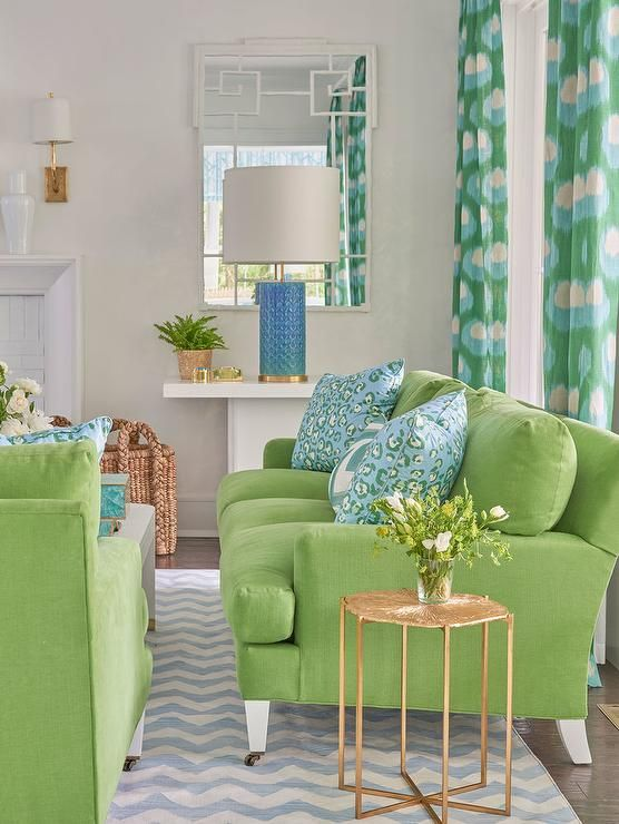 Green and turquoise living room