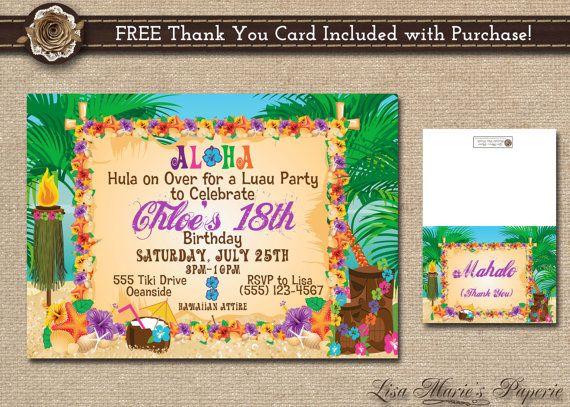 invitación hawaiana de la fiesta invitación por LisaMariesPaperie