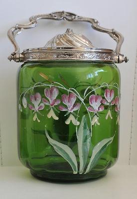 Sceau à Biscuit Ancien en Verre Emaillé de Fleurs Art Nouveau Pot 1900 Legras