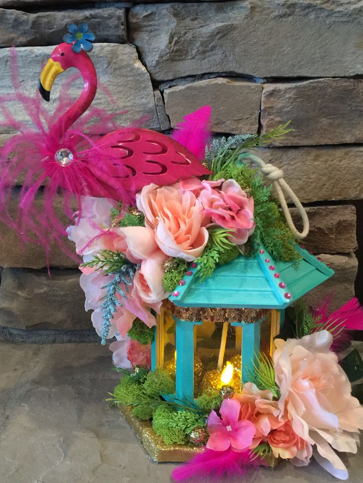 Flamingo Centerpiece candle , tikki room, baby shower, Cake Topper, wedding, party,yard Decor,garden party , aloha party, boho, yard decor by Rusticredoo on Etsy https://www.etsy.com/listing/510522196/flamingo-centerpiece-candle-tikki-room