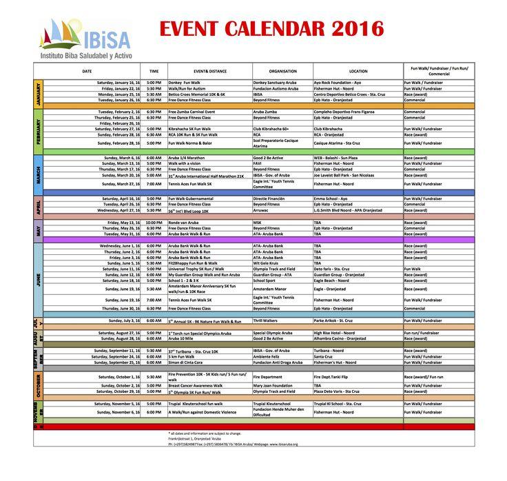 Ibisa Event Calendar 2016 Ibisa Aruba Pinterest