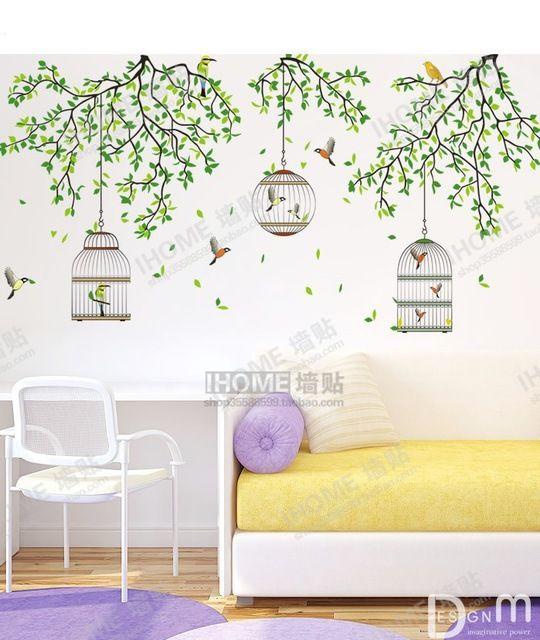 Grote Bos Decoratieve Vogelkooi Muurstickers Groene Boomtak Behang Decals Livingroom Achtergrond Decor Originele 90*60 cm