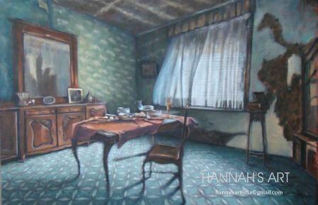 Artist: HANNAH, Forgotten dinner,oil on canvas,760 x 505, price on request.