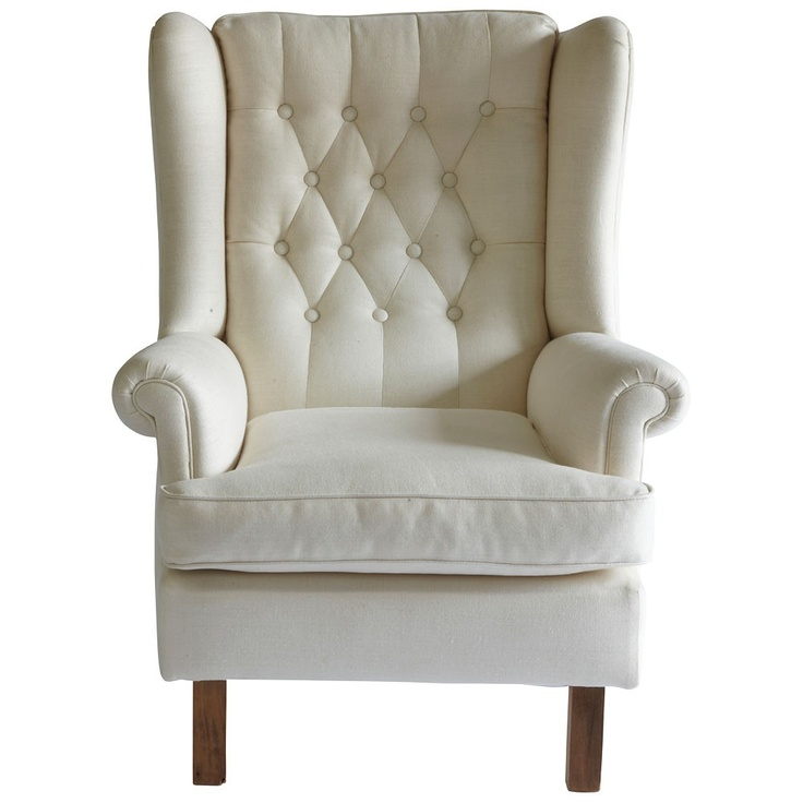 Good Vintage Cream Linen Wingback Armchair   PAD Passionate About Design   On  Temple U0026 Webster Today