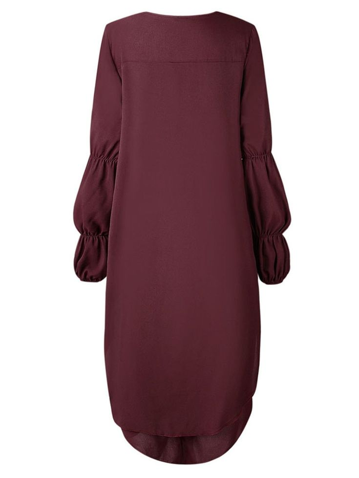 2018 mulheres assimétricas manga comprida camisa dress plus size plissado hem vestido de festa à noite clubwear   – Costumes