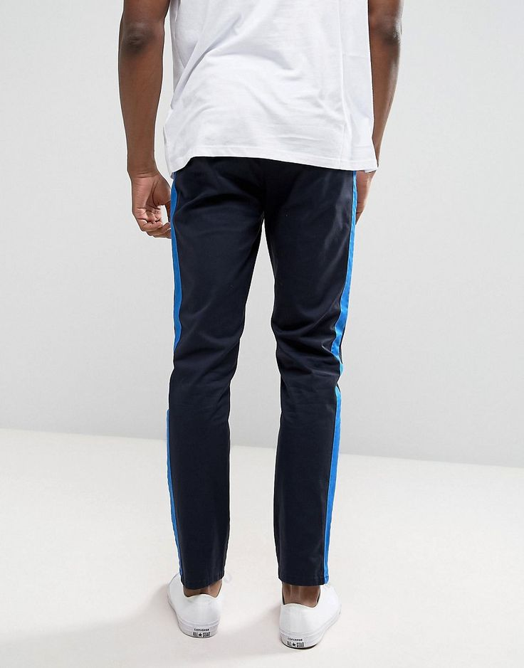 ASOS Tall Slim Chinos With Side Stripe In Navy - Navy