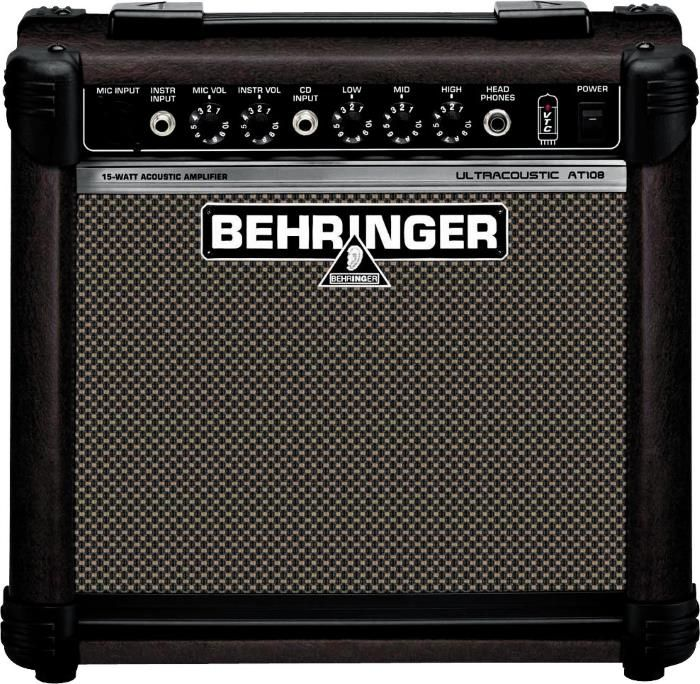 Behringer Ultracoustic AT108 Acoustic Guitar Amp. With a street price of only $99.99 it'a a versatile 20-Watt 2-channel acoustic instrument amplifier designed primarily for guitarists. For a guide to acoustic guitar amps see https://www.gearank.com/guides/acoustic-guitar-amp
