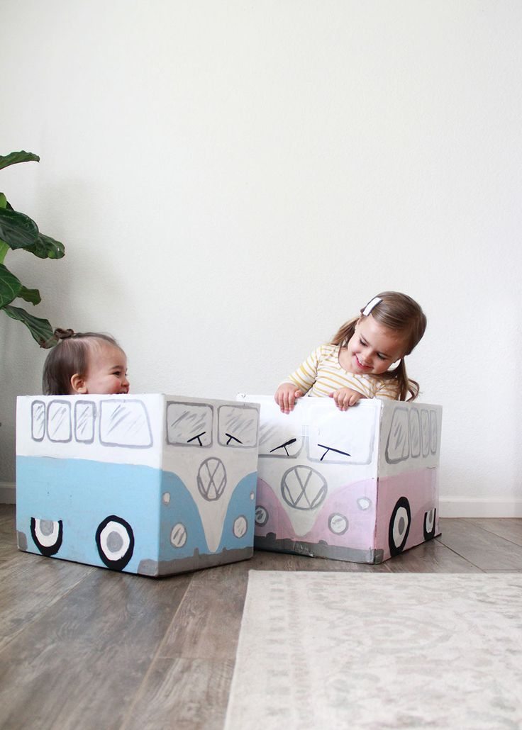 little vw bus box cars made from cardboard!  http://thelovedesignedlife.com/2017/03/creative-cardboard-play/