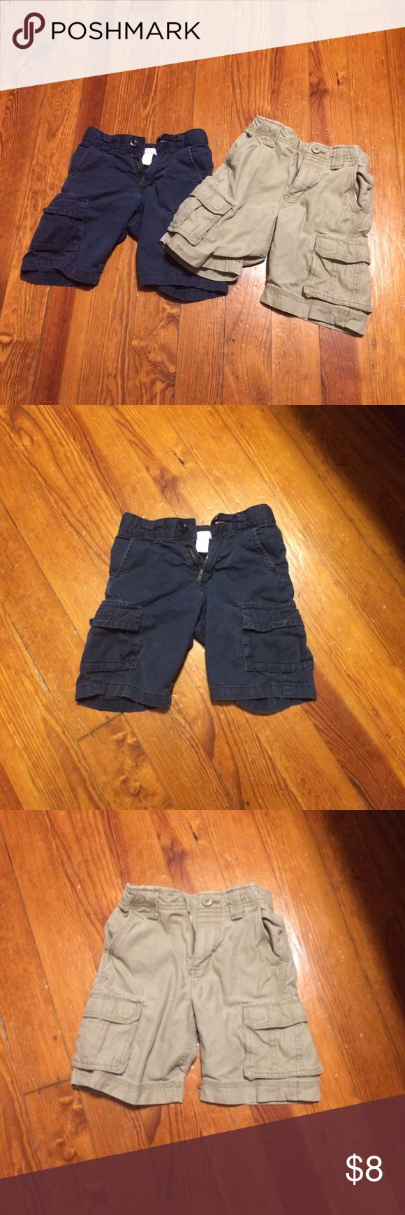 ‼️2 Pairs of Boys Cargo Shorts‼️ 🔹Boys Cargo Shorts from a smoke free home. Adjustable waist. Blue pair is Old Navy brand = 5T. The khaki pair is Arizona brand = 5 Slim. Old Navy Bottoms Jeans