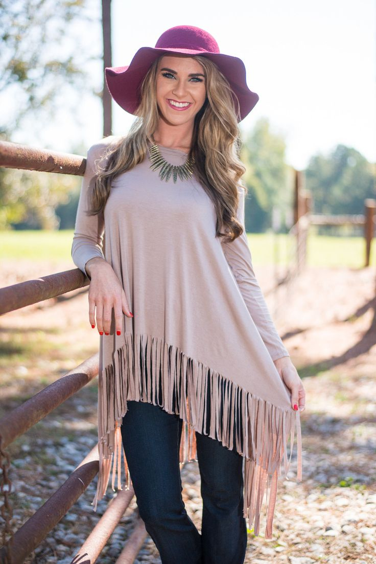 Fringe Benefits Top, Taupe - The Mint Julep Boutique
