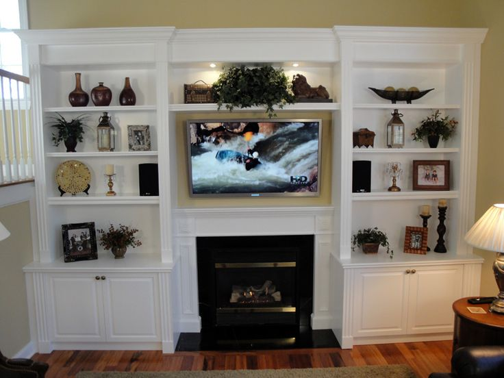 Built in shelves around the fireplace over the tv for Family room built in ideas