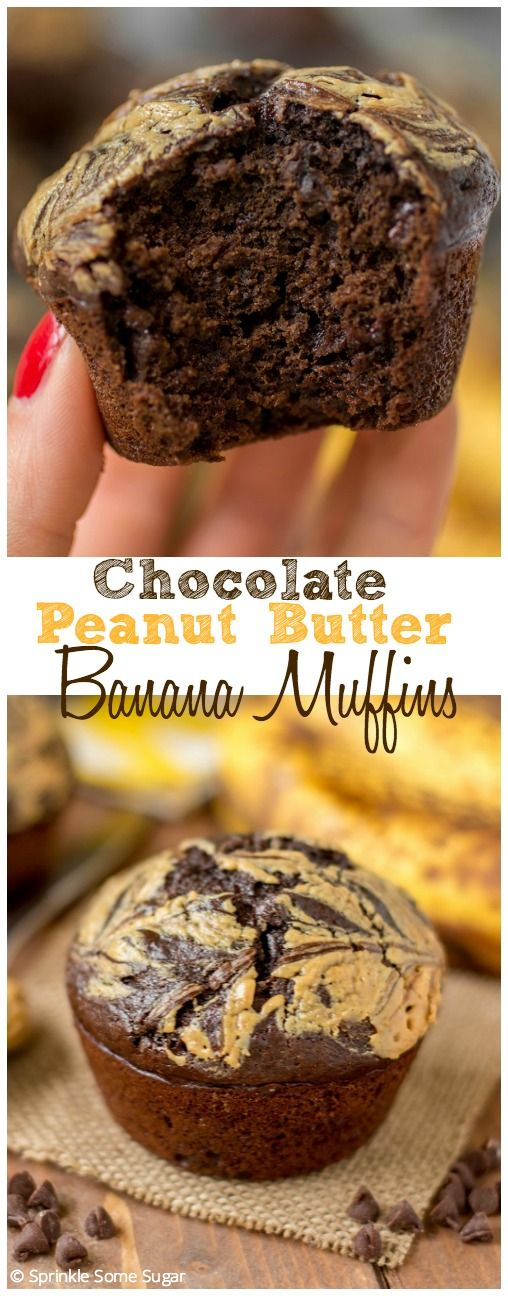 Chocolate Peanut Butter Banana Muffins. These muffins are so flavorful, moist and bake up just perfectly!