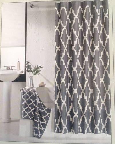 hotel 21 fabric shower curtain charcoal gray white lattice geometric modern