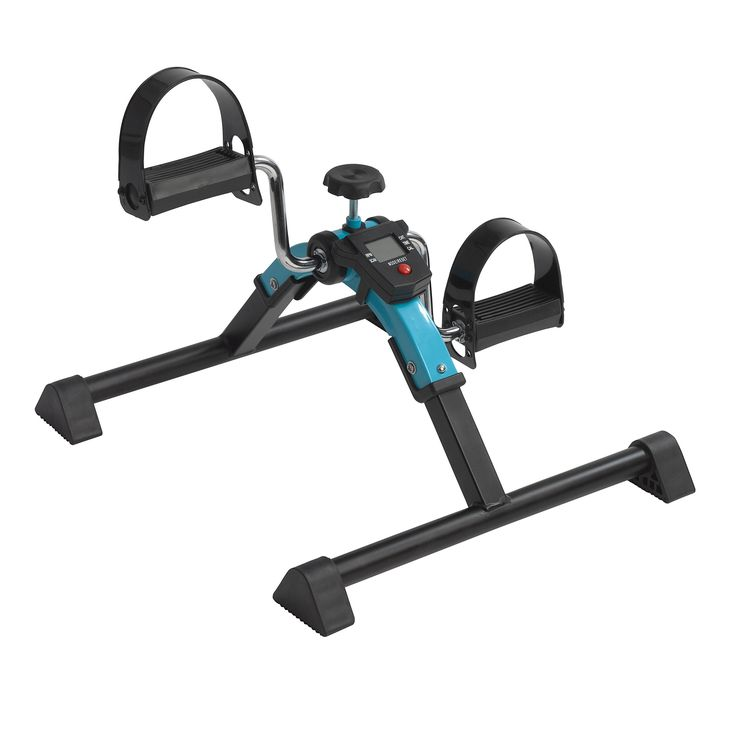 Drive Medical Folding Exercise Peddler with Digital Display, Blue. Safe and gentle form of low-impact exercise; ideal for leg and arm muscles and for stimulating circulation. Five function display indicates exercise time, revolution count, revolutions per minute (rpm), and calories burned. Four anti-slip rubber pads prevent sliding and protect surfaces; Easily folds for compact storage and transport. Resistance easily adjusted with tension screw. Button cell battery included; Completely...