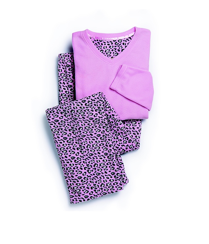 Shelley: Pink Animal Print Fleece PJs