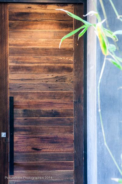 The grand textured doors were made from recycled Messmate sourced from a warehouse in Newcastle and were made to order by our expert joinery team.