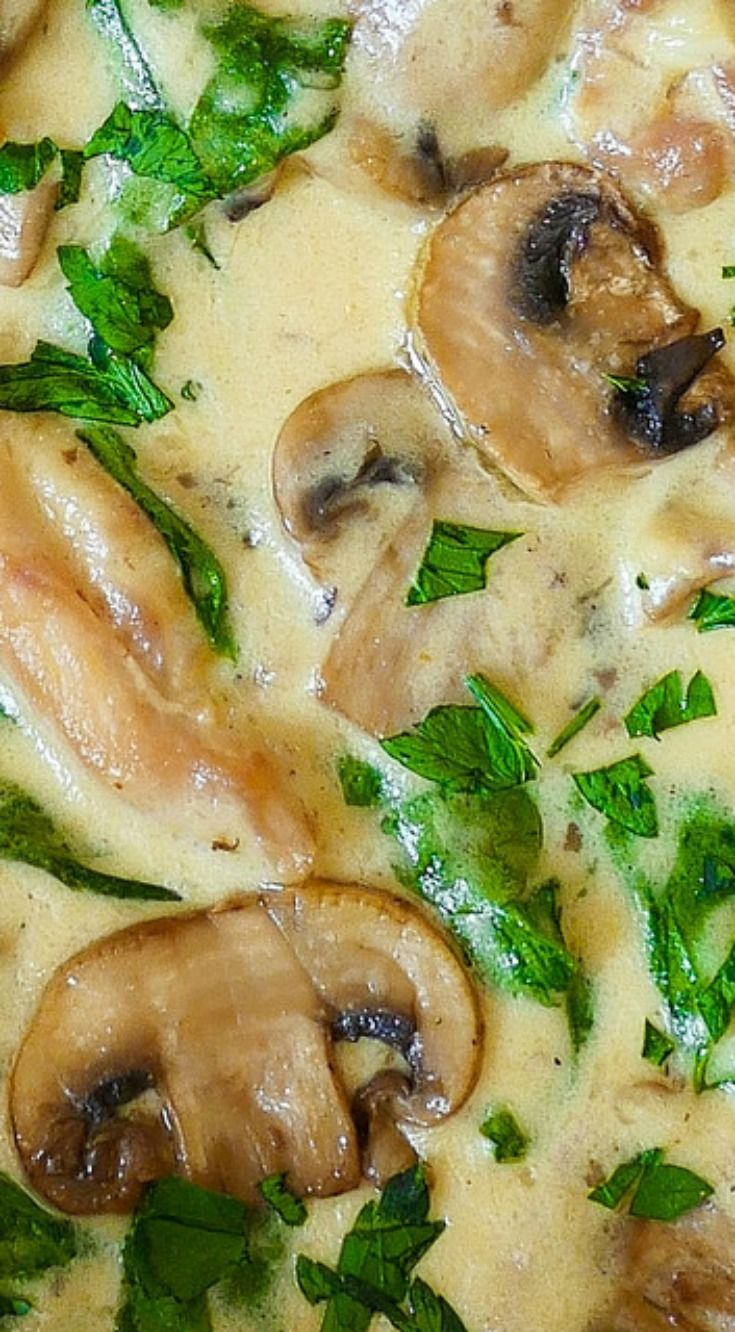 Chicken and Spinach with Creamy Parmesan Mushroom Sauce ~ Perfect comfort food