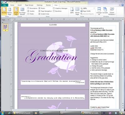 Desktop Publishing  Get StartedChoose SoftwareMake SomethingSharePrint  Free Desktop Publishing Newsletter!Sign Up  Discuss in my forum  1.55 oz Candy Bar Wrappers in Microsoft Publisher Format